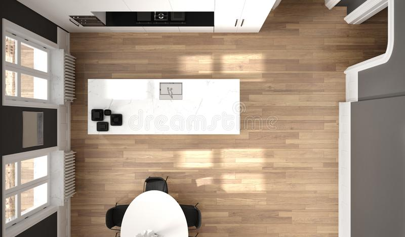 Minimalist white and black kitchen in classic room with molding, parquet floor, dining table, chairs, marble island and panoramic. Windows. Modern architecture royalty free illustration