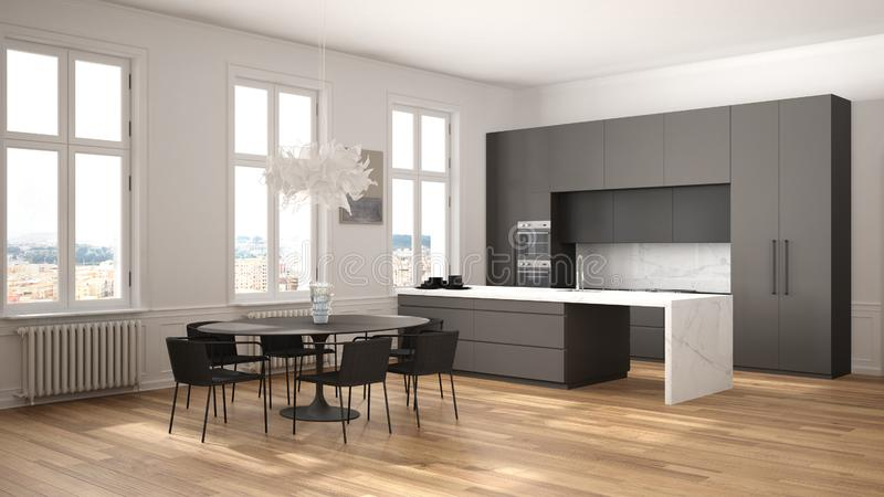 Minimalist white and black kitchen in classic room with moldings, parquet floor, dining table with chairs, marble island and. Panoramic windows. Modern stock photo