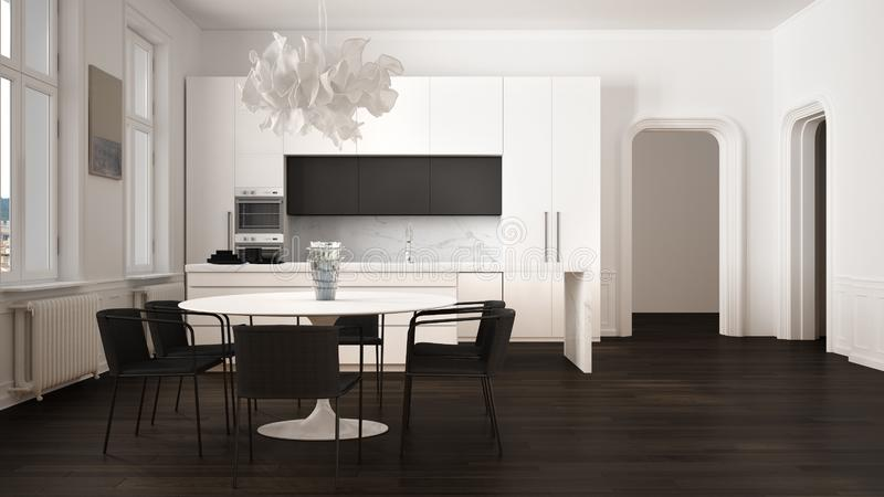Minimalist white and black kitchen in classic room with moldings, parquet floor, dining table with chairs, marble island and. Panoramic windows. Modern stock illustration