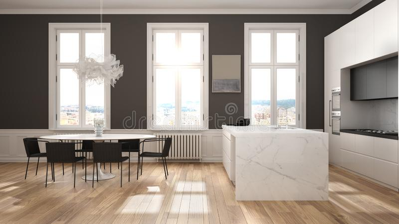 Minimalist white and black kitchen in classic room with moldings, parquet floor, dining table with chairs, marble island and. Panoramic windows. Modern royalty free illustration