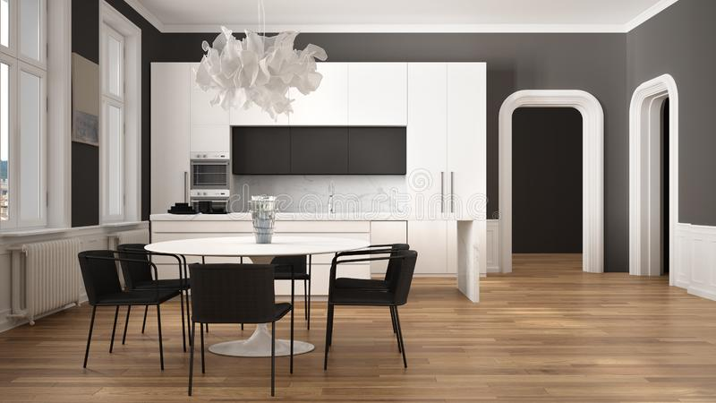 Minimalist white and black kitchen in classic room with moldings, parquet floor, dining table with chairs, marble island and. Panoramic windows. Modern vector illustration
