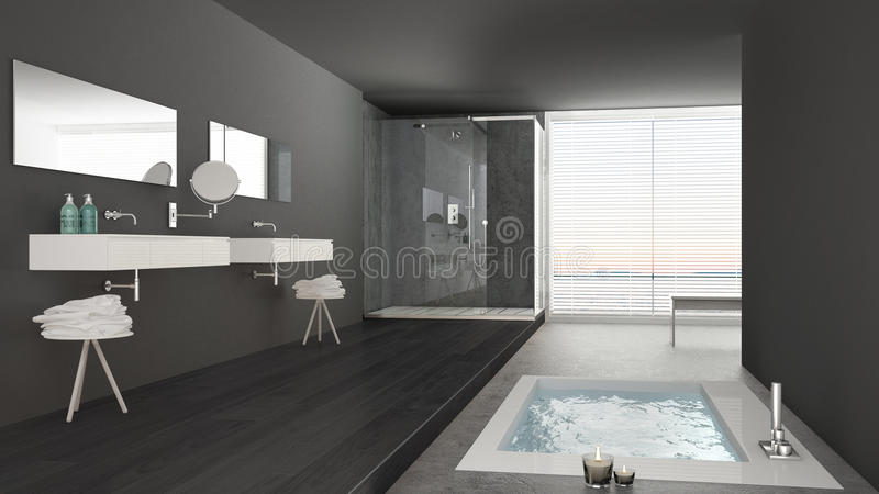 Minimalist White And Gray Bathroom With Bath Tub And Panoramic Stock on interior design smooth texture, interior design in harmony, interior design for small spaces, interior design transformations, interior design contrast, interior design emphasis examples, interior design color trends, interior design color variety, interior design patterns, interior design kirkland wa, interior design color combinations, interior design lightweight visual, interior design amsterdam, interior design function, interior design heavy mass,