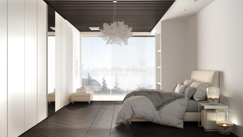 Minimalist white and gray bedroom in contemporary space with parquet floor, shower, wooden floor, double bed, big wardrobe with. Mirror, large panoramic window royalty free stock photos