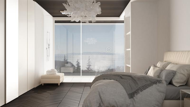 Minimalist white and gray bedroom in contemporary space with parquet floor, shower, wooden floor, double bed, big wardrobe with. Mirror, large panoramic window stock illustration