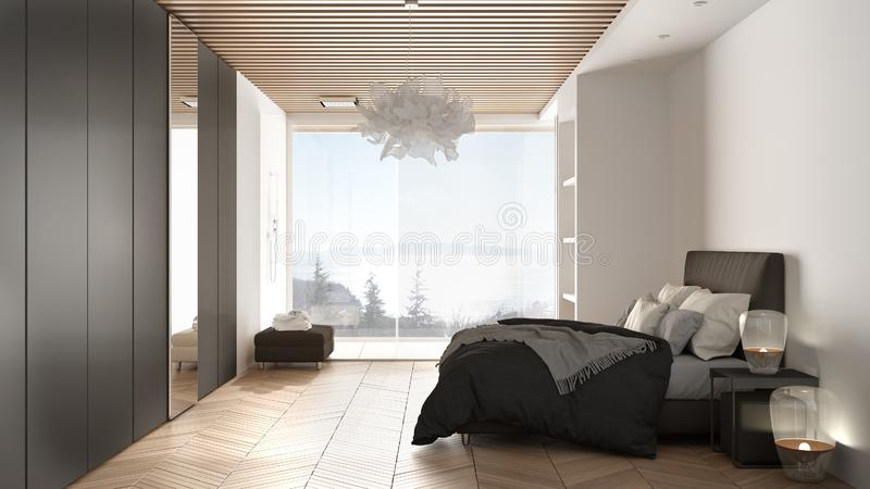 Minimalist white and gray bedroom in contemporary space with parquet floor, shower, wooden floor, double bed, big wardrobe with. Mirror, large panoramic window vector illustration