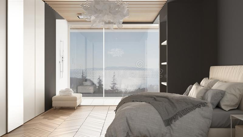 Minimalist white and gray bedroom in contemporary space with parquet floor, shower, wooden floor, double bed, big wardrobe with. Mirror, large panoramic window royalty free illustration