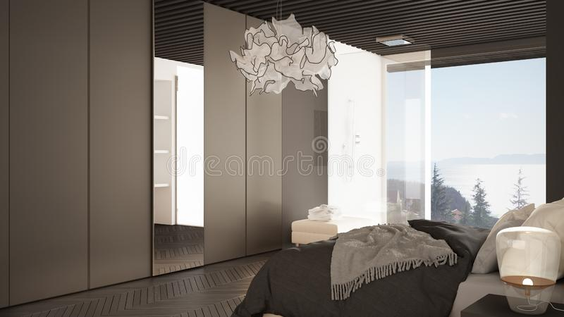Minimalist white and gray bedroom in contemporary space with parquet floor, shower and wooden floor, double bed, wardrobe with. Mirror, large panoramic window royalty free illustration