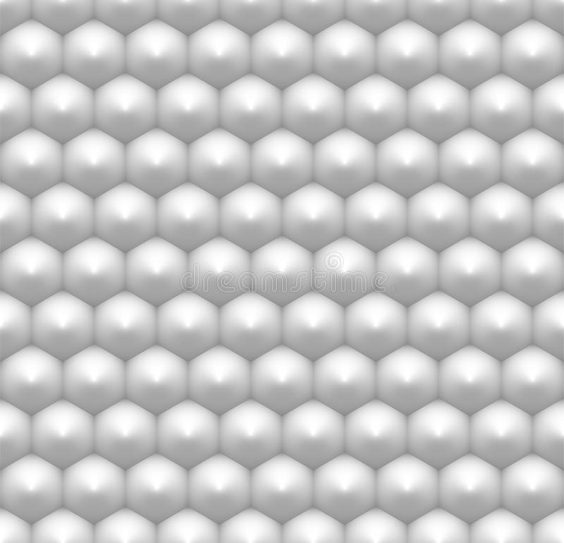 Minimalist white hexagon seamless pattern, abstract honeycomb 3D like industrial background with realistic stock illustration
