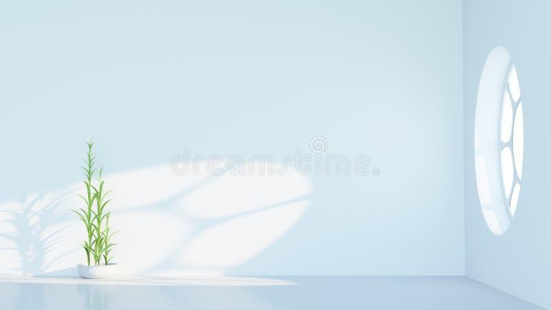 Minimalist white interior with round window royalty free stock photos