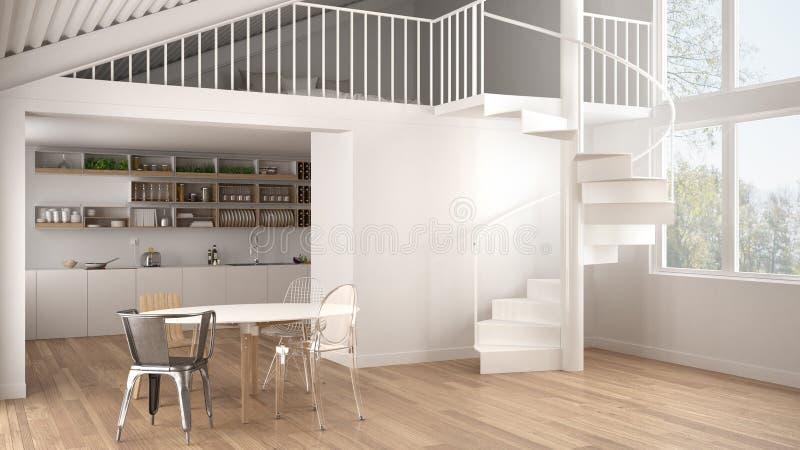 Minimalist white kitchen with mezzanine and modern spiral staircase, loft with bedroom, concept interior design background, archit. Ect designer idea stock illustration