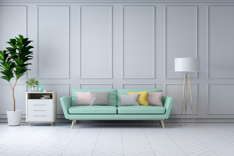 Minimalist white room interior design,green sofa with plant on white wall /3d render. Minimalist white room interior,green armchair and plant on white wall /3d stock photo