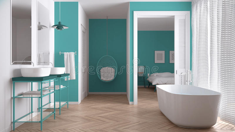 Minimalist white and turquoise scandinavian bathroom. With bedroom in background, classic interior design royalty free stock images