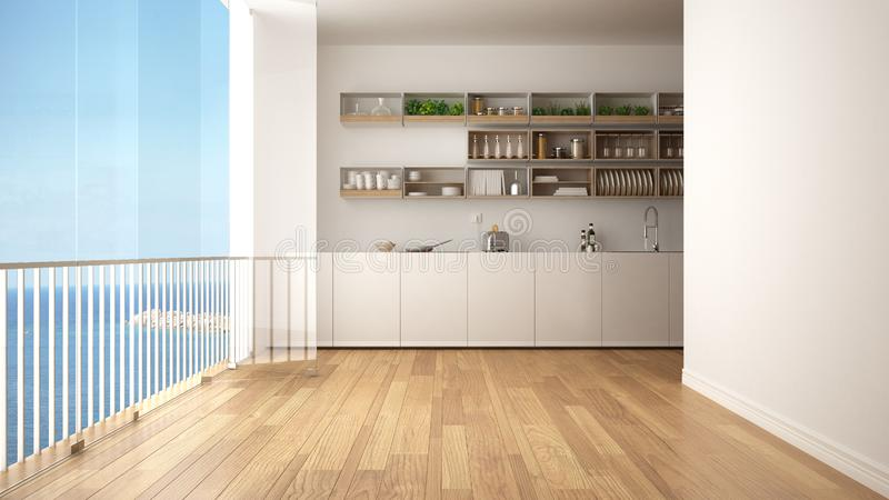 Minimalist white and wooden kitchen with parquet floor and big panoramic window. Sea ocean panorama with blue sky in the backgroun. D. Eco house interior design stock illustration