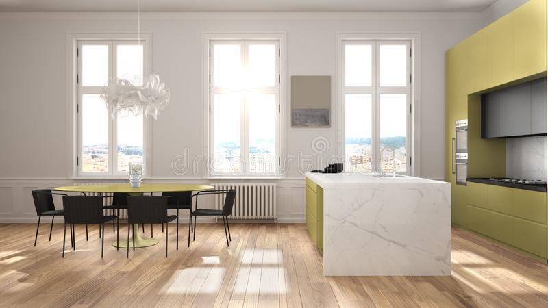 Minimalist yellow and black kitchen in classic room with moldings, parquet floor, dining table with chairs, marble island and. Panoramic windows. Modern stock illustration