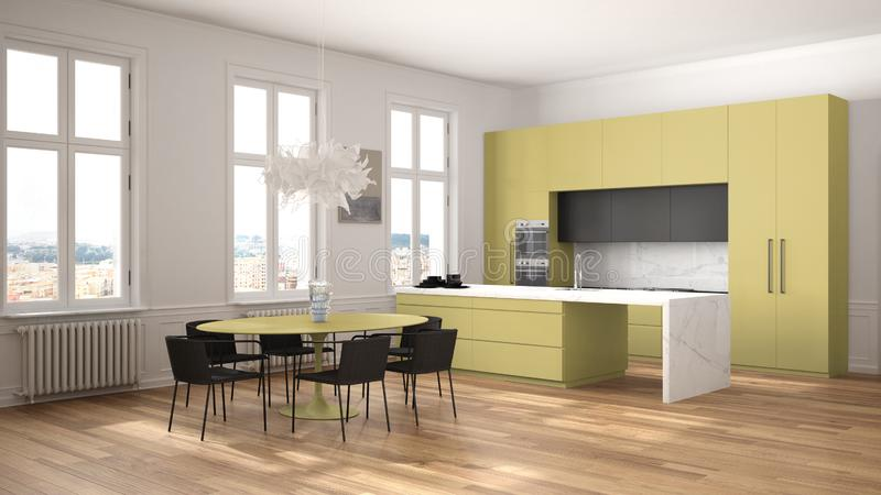 Minimalist yellow and black kitchen in classic room with moldings, parquet floor, dining table with chairs, marble island and. Panoramic windows. Modern vector illustration
