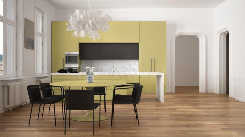 Minimalist yellow and black kitchen in classic room with moldings, parquet floor, dining table with chairs, marble island and. Panoramic windows. Modern royalty free illustration