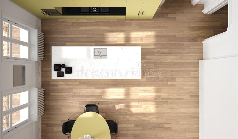 Minimalist yellow and black kitchen in classic room, parquet floor, dining table, chairs, marble island and panoramic windows. Modern architecture interior vector illustration