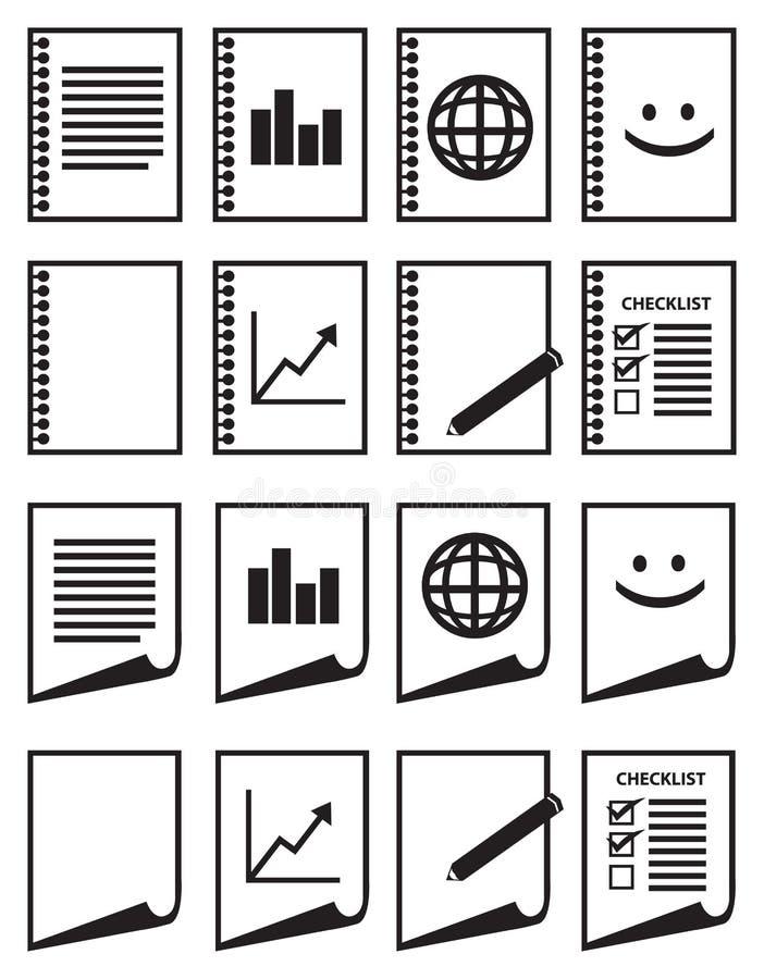 Minimalista Papierowa Wektorowa ikona Ustawiająca w Czarny I Biały ilustracja wektor