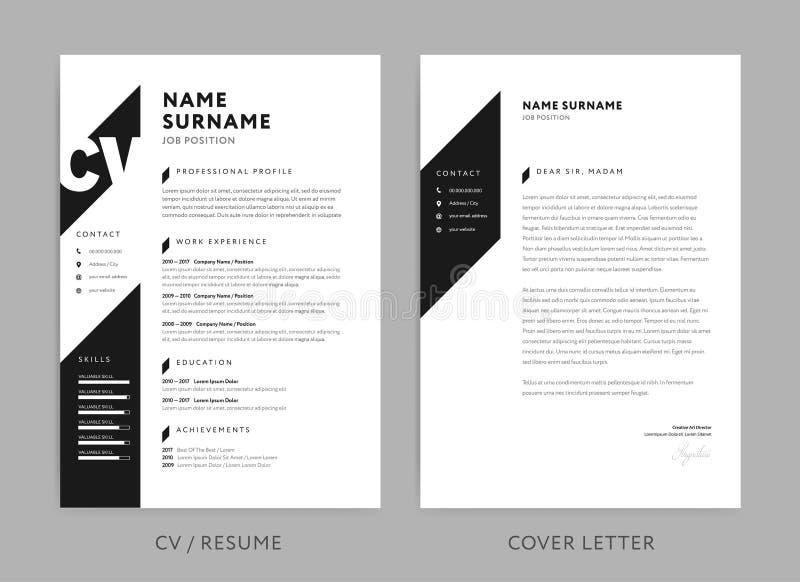 MinimalistCV/meritförteckning och följebrev - minsta design - svartvit bakgrundsvektor royaltyfri illustrationer