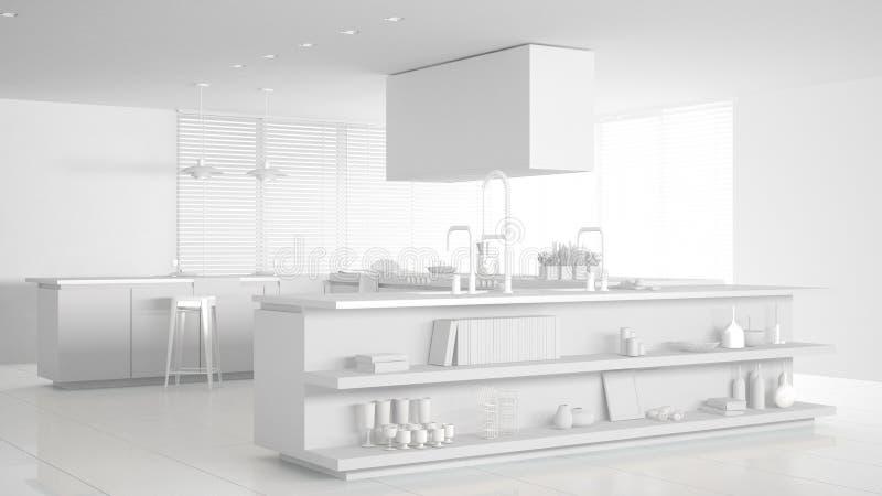 minimalistic专业现代厨房,当代内部总白色项目有辅助部件的 向量例证