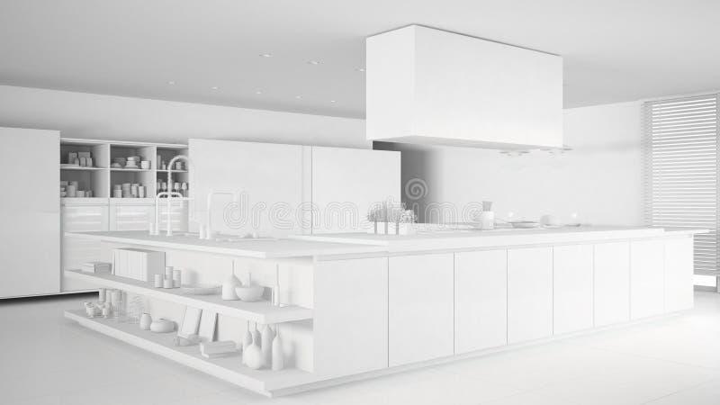 minimalistic专业现代厨房,当代内部总白色项目有辅助部件的 库存例证