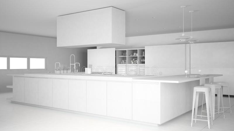 minimalistic专业现代厨房,当代室内设计总白色项目有辅助部件的 皇族释放例证