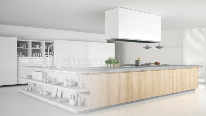 minimalistic专业现代木厨房,当代内部未完成的项目有辅助部件的 皇族释放例证