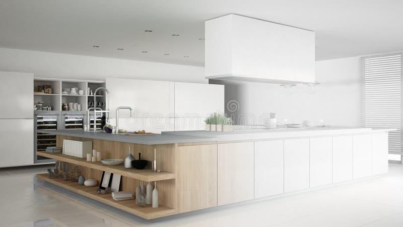 minimalistic专业现代木厨房,当代内部未完成的项目有辅助部件的 向量例证