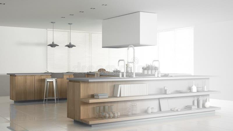 minimalistic专业现代木厨房,当代内部未完成的项目有辅助部件的 库存例证