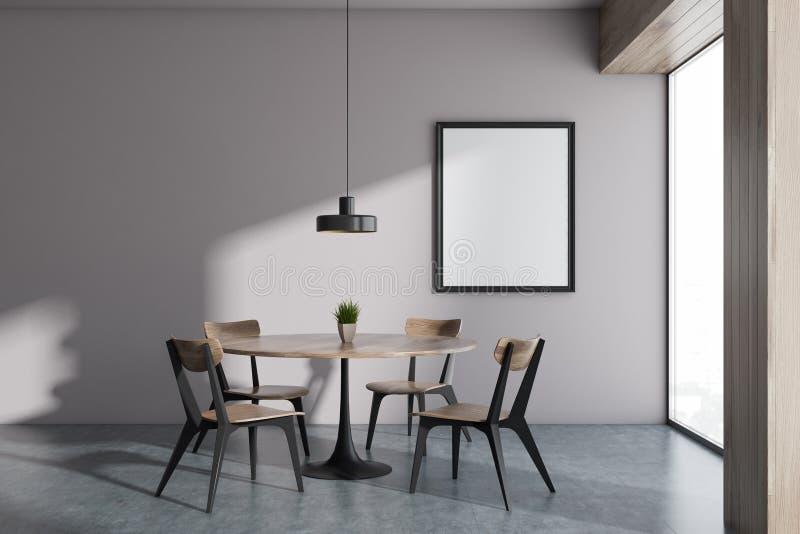 Minimalistic全景白色餐厅,框架 免版税库存图片