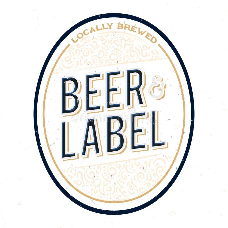 Minimalistic和简单的啤酒瓶标签设计 皇族释放例证