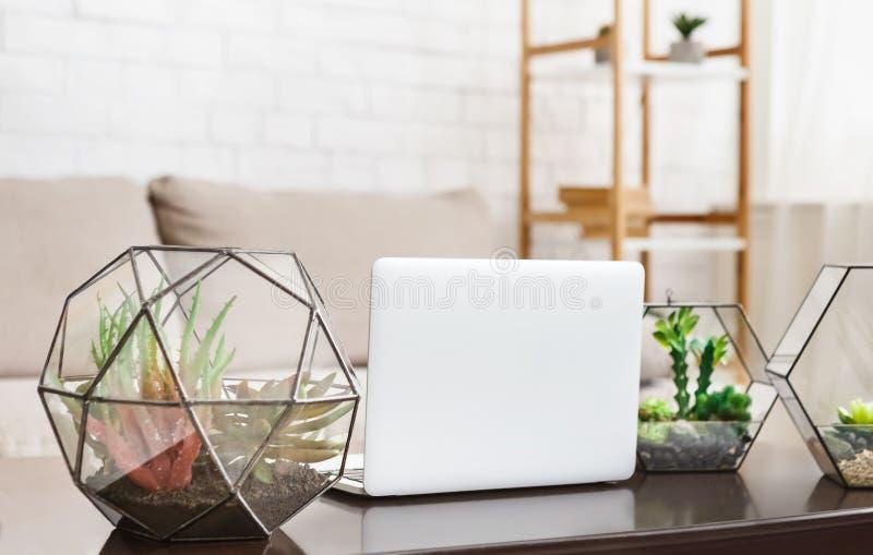 Minimalistic室内设计 现代eco房子概念 免版税库存照片