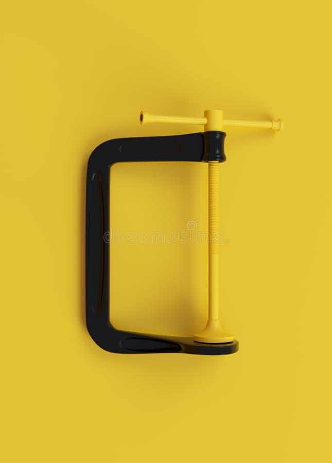 Minimalistic黑色和黄色钳位在干净的黄色背景 3d回报 库存图片