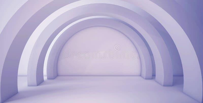 Minimalistic,与曲拱的抽象背景 3d回报,最小 库存例证