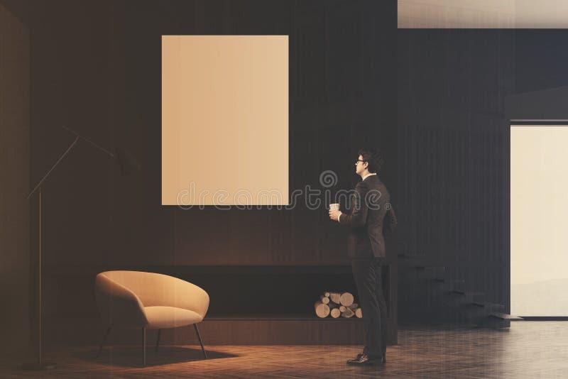 Minimalistic żywy izbowy wnętrze, plakat tonujący obrazy stock