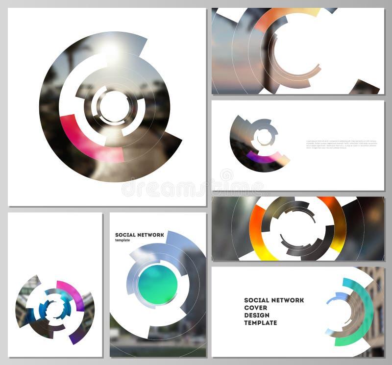 Minimalistic абстрактные планы вектора современных социальных модель-макетов сети в популярных форматах Футуристический циркуляр  иллюстрация штока