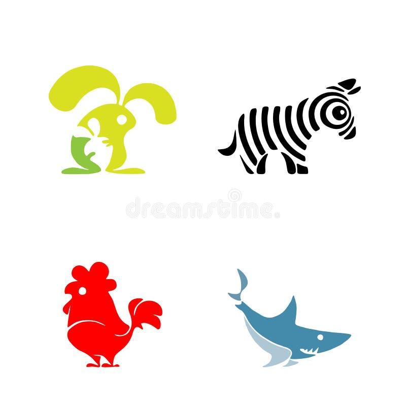 Набор логотипа вектора плоский простой minimalistic животный Животное, значок птицы, млекопитающийся животный знак, символ изолир иллюстрация вектора