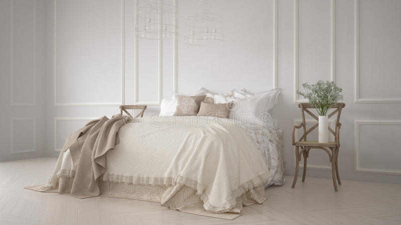 Minimalistic经典卧室,白色室内设计 库存例证