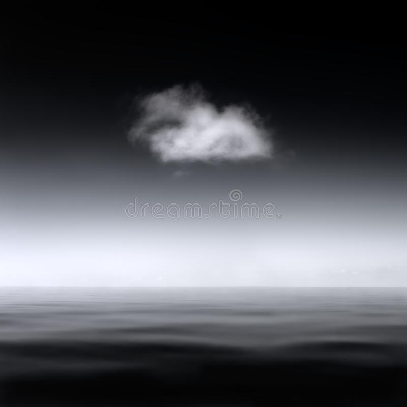 Minimalistic abstract landscape of a single cloud over a smooth sea, B&W stock photo
