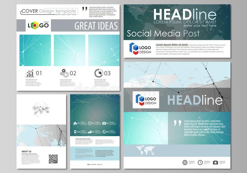 The minimalistic abstract vector illustration of the editable layout of modern social media post design templates in. Popular formats. Futuristic high tech vector illustration