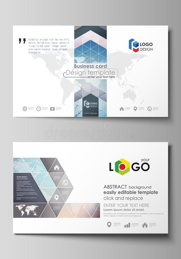 The minimalistic abstract vector illustration of the editable layout the minimalistic abstract vector illustration of the editable layout of two creative business cards design templates polygonal geometric linear texture reheart Images