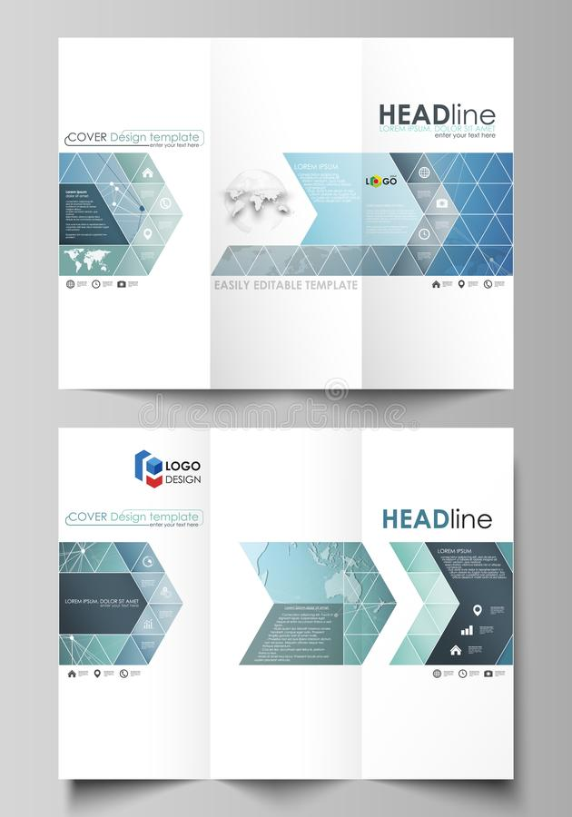 The minimalistic abstract vector illustration of the editable layout of two creative tri-fold brochure covers design. Business templates. Chemistry pattern stock illustration