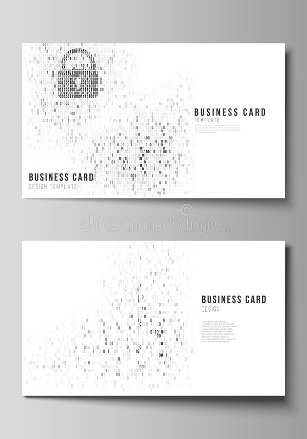 The minimalistic abstract vector layout of two creative business cards design templates. Binary code background. AI, big. Data, coding or hacker concept royalty free illustration