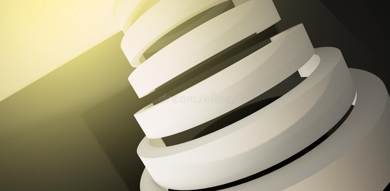 Minimalistic abstrakt bakgrund med en båge 3d framför, minsta vektor illustrationer