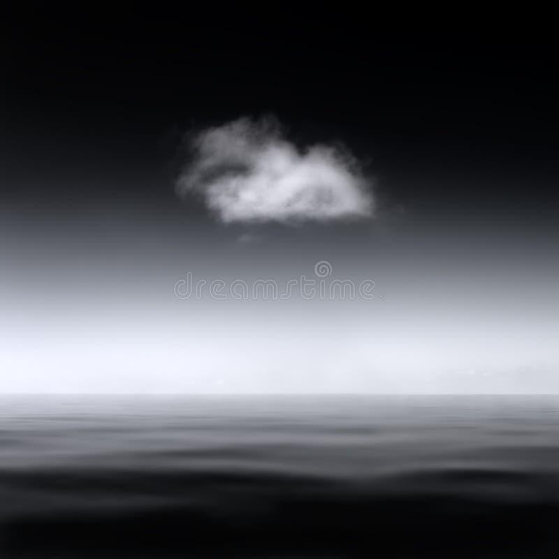 Minimalistic abstrakt begrepplandskap av ett enkelt moln över ett slätt hav, B&W arkivfoto