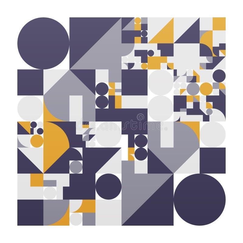 Minimalistic affisch för vektor med enkla former Procedurmässigt geometriskt Orientering för schweizarestilabstrakt begrepp Begre vektor illustrationer
