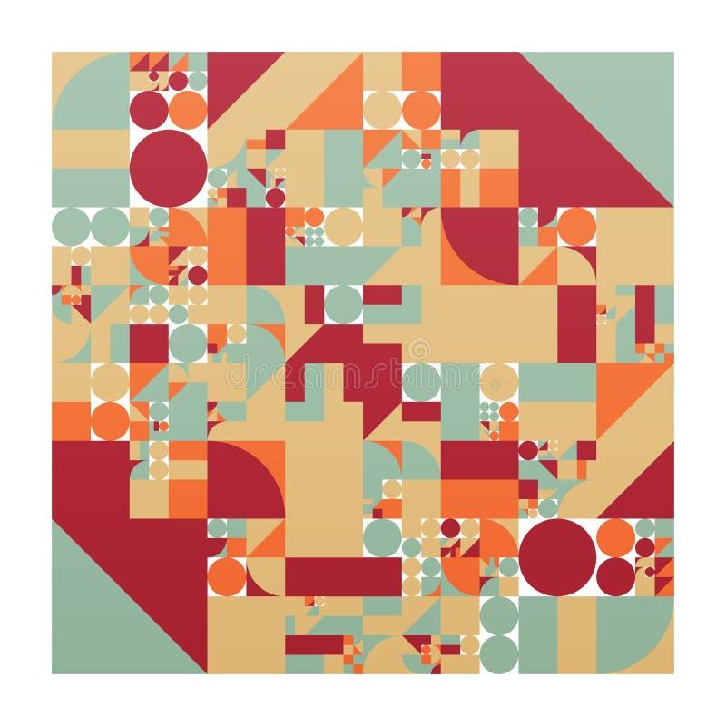Minimalistic affisch för vektor med enkla former Procedurmässigt geometriskt Orientering för schweizarestilabstrakt begrepp Begre stock illustrationer