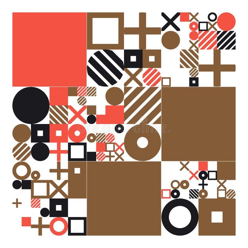 Minimalistic affisch för vektor med enkla former Procedurmässigt geometriskt Orientering för schweizarestilabstrakt begrepp Begre royaltyfri illustrationer