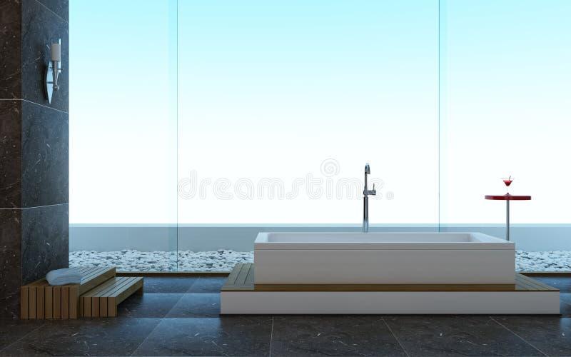 Minimalistic Art der modernen Auslegung eines Badezimmers lizenzfreie abbildung