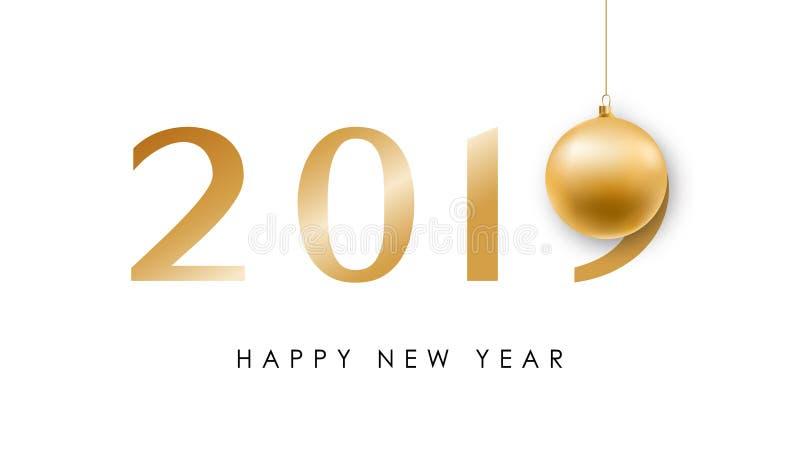 Minimalistic baner för lyckligt nytt år med den skinande julbollen och guld- nummer 2019 vektor illustrationer